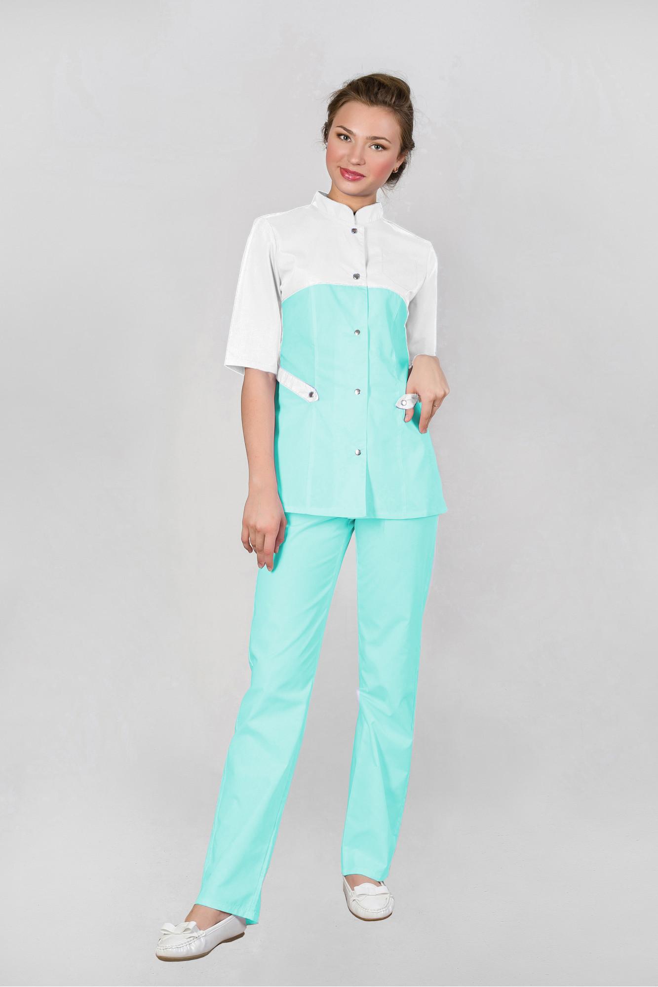3e242a366e0c3 Костюм медицинский женский №241 белый-бирюза | Медицинская одежда от ...